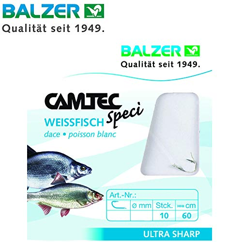 Balzer Camtec Weißfisch Haken - 10 gebundene Angelhaken für Friedfische, Haken zum Friedfischangeln, Einzelhaken, Friedfischhaken, Hakengröße/Schnurdurchmesser:Gr. 10 / 0.18mm
