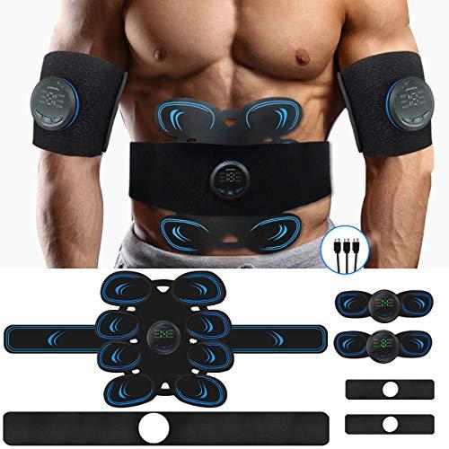 Aooeou EMS Muskelstimulator Bauchmuskeltrainer Trainingsgerät, Muskelstimulation mit verstellbarem Gürtel,USB Wiederaufladbarer Muskeltrainer für Bauch,Arm,Bein Fitness Trainings Gang