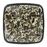 Perillas de cristal con diseño de ancla de camuflaje verde militar para gabinete de aparador, pomos de cajón de cristal (juego de 4)