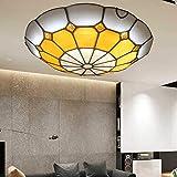 BJClight Classic Tiffany Style Ceiling Light Lamp, Creative Stained Glass Chandelier Lighting, Retro LED Pendant Light Living Room Bedroom Coffee Bar,B50CM