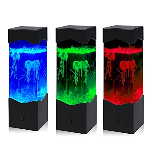 Doright 1X Lámpara de Medusas RGB USB DC 5V Eléctrica Tanque de Lámpara de Mesa Acuario Luz de Noche 16 Colores Cambiantes luz de Decoración para Sala de Estar Dormitorio Escritorio con 3 Medusas