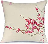 JKSA Funda de almohada decorativa Blooming White Plum Blossom Isolate Texture Bud Prunus Mume Early Spring Nature Albaricoque Pink Form Lino Throw Pillows Funda para sofá cama Sofá suave Funda de almo