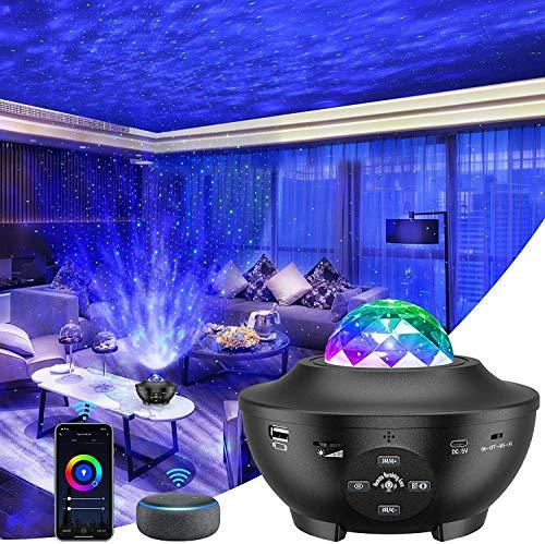 Lampe Projecteur LED, Lumière Projecteur Connectée WI-FI Simulation des nuages 10 Modes Musicale Commande Fonctionne avec Google Home Alexa pour Décoration des Chambres/Enfants/Fête/Cadeau (Noir)
