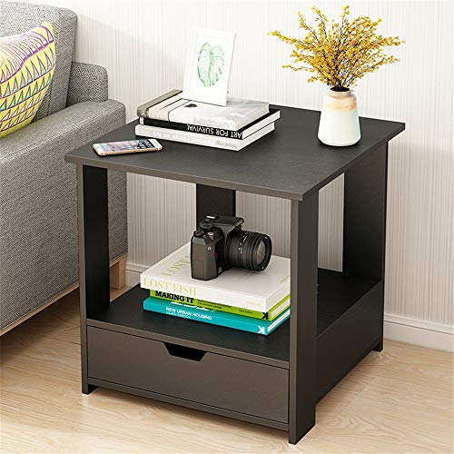 Canness Modern Side Table Nightstand for Living Room Espresso Chairside End Table with Drawer and Shelf Square Side End Table for Living Room Bedroom (Color : Black, Size : 50x50x51cm)