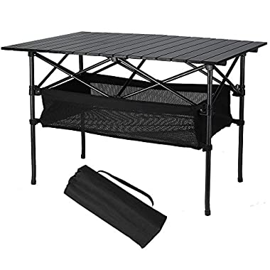 Folinstall Portable Tables - Picnic Table with Hammock Style Storage Basket & Carry Bag - Collapsible Table Supports 154.32 lbs(70 kg)
