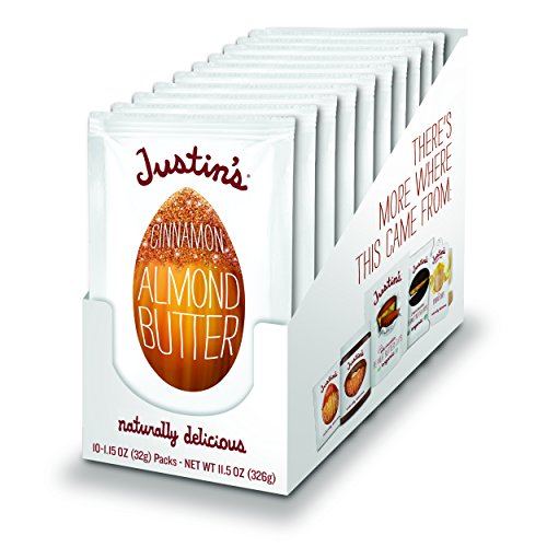 Justin's Cinnamon Almond Butter Squeeze Packs, Gluten-free, Non-GMO, Responsibly Sourced, 1.15 Oz, Pack of 10