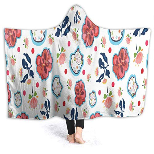 Hooded Blanket Happy Maneki Neko Cat and Geranium Florals Wearable Fleece Blankets Soft Warm for Kid Adults Women Men Throw Cuddle Poncho Cloak Cape Adults/Womens/Mens Throw