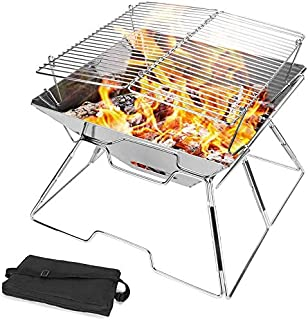 Charcoal Grill Foldable BBQ Grill Portable Stainless Steel Picnic Barbecue Grill Outdoor Cooking Patio Backyard Camping Hi...