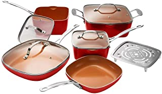 Gotham Steel 10-Piece Square Kitchen Set with Non-Stick Ti-Cerama Coating– 25% More Cooking Space than Round - Includes Skillets, Fry Pans, Stock Pots and Steamer, As Seen on TV - Red
