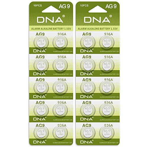 20 x DNA AG9 Alkaline 1,5 V Knopfzelle LR936 LR45 SP394 L936 SR45H G9 Uhren Spielzeug Fernbedienungen Kameras