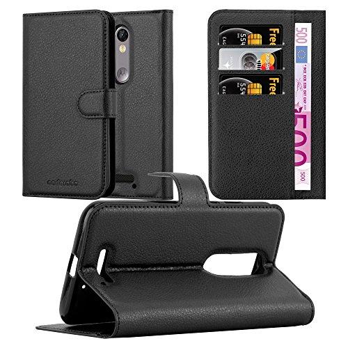 Cadorabo Hülle für Motorola Moto X Force in Phantom SCHWARZ - Handyhülle mit Magnetverschluss, Standfunktion & Kartenfach - Hülle Cover Schutzhülle Etui Tasche Book Klapp Style