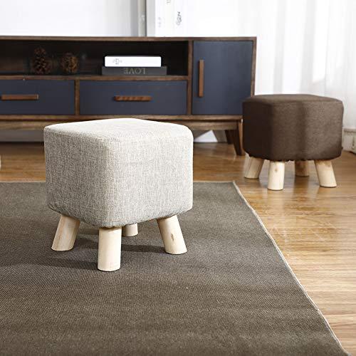 R&LL Massief houten schoen bankje, stoffen vierkant, kruk voor thuis en in de slaapkamer, woonkamer 28x28x25cm(11x11x10inch) K