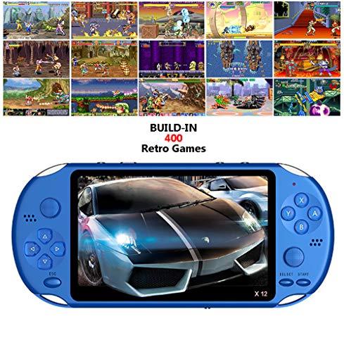 IDE Play Consola de Juegos portátil Retro Consola de Juegos X-12, Gratis con la Tarjeta 8g Built-in Consola de Videojuegos 10000 clásico Juego de Consola 5.1 Pulgadas de Pantalla HD portátil,Azul