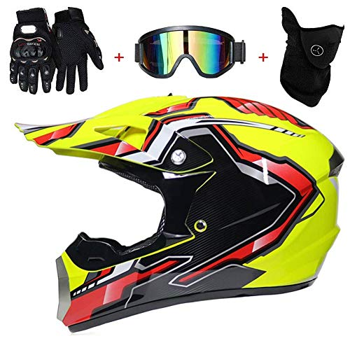 KAISIMYS Juego de casco de motocross (4 unidades) casco de motocicleta para adultos, casco de bicicleta de montaña, casco de cara completa para motocicleta todoterreno con guantes de gafas, XL