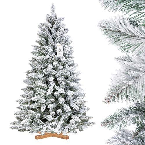 FairyTrees Albero di Natale Artificiale in Abete Rosso/peccio, Naturale innevato, PVC, Supporto in Legno, 150cm, FT13-150