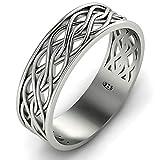 Endless Irish Celtic Knot Band Ring Oxidized...