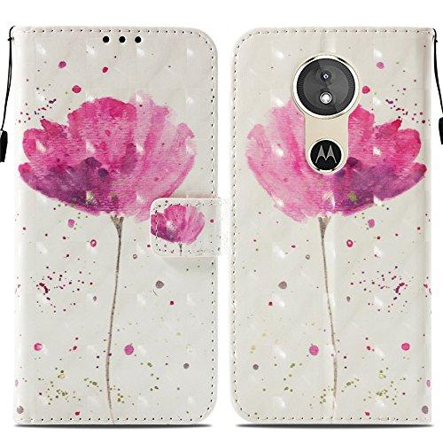 Ooboom® Motorola Moto E5/G6 Play Hülle 3D Flip PU Leder Schutzhülle Stand Handy Tasche Brieftasche Wallet Hülle Cover für Motorola Moto E5/G6 Play - Blume Lila