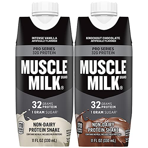 Muscle Milk Pro Series Protein Shake Bundle Pack, Intense Vanilla & Knockout Chocolate, 32g Protein, 11oz Cartons (24 Pack)