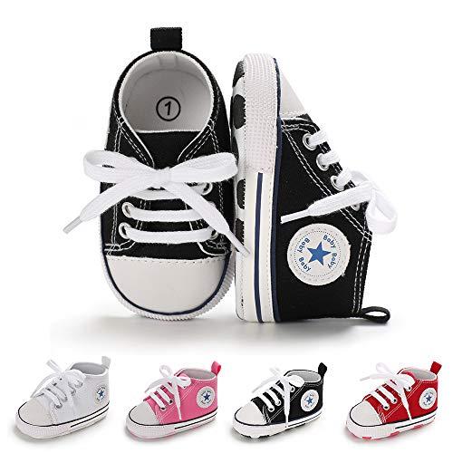 BiBeGoi Baby-Sneaker für Jungen und Mädchen, aus Segeltuch, hohe Schnürung, Freizeitschuhe für Neugeborene, Krippenschuhe, Lauflernschuhe, Schwarz - A02 Schwarz - Größe: 12-18 Monate