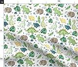 Dinosaurier, Fossilien, Junge, Grün, Blau, Blätter Stoffe