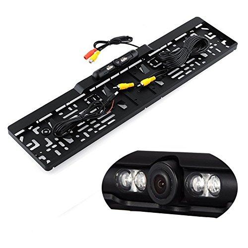 YMPA Rückfahrkamera Farbe IR mit Nachtsicht CCD Kennzeichen Nummernschild Halterung für Monitor mit Kabel 5 Meter Hilfslinien Distanzlinien RFK-NSKCCDP