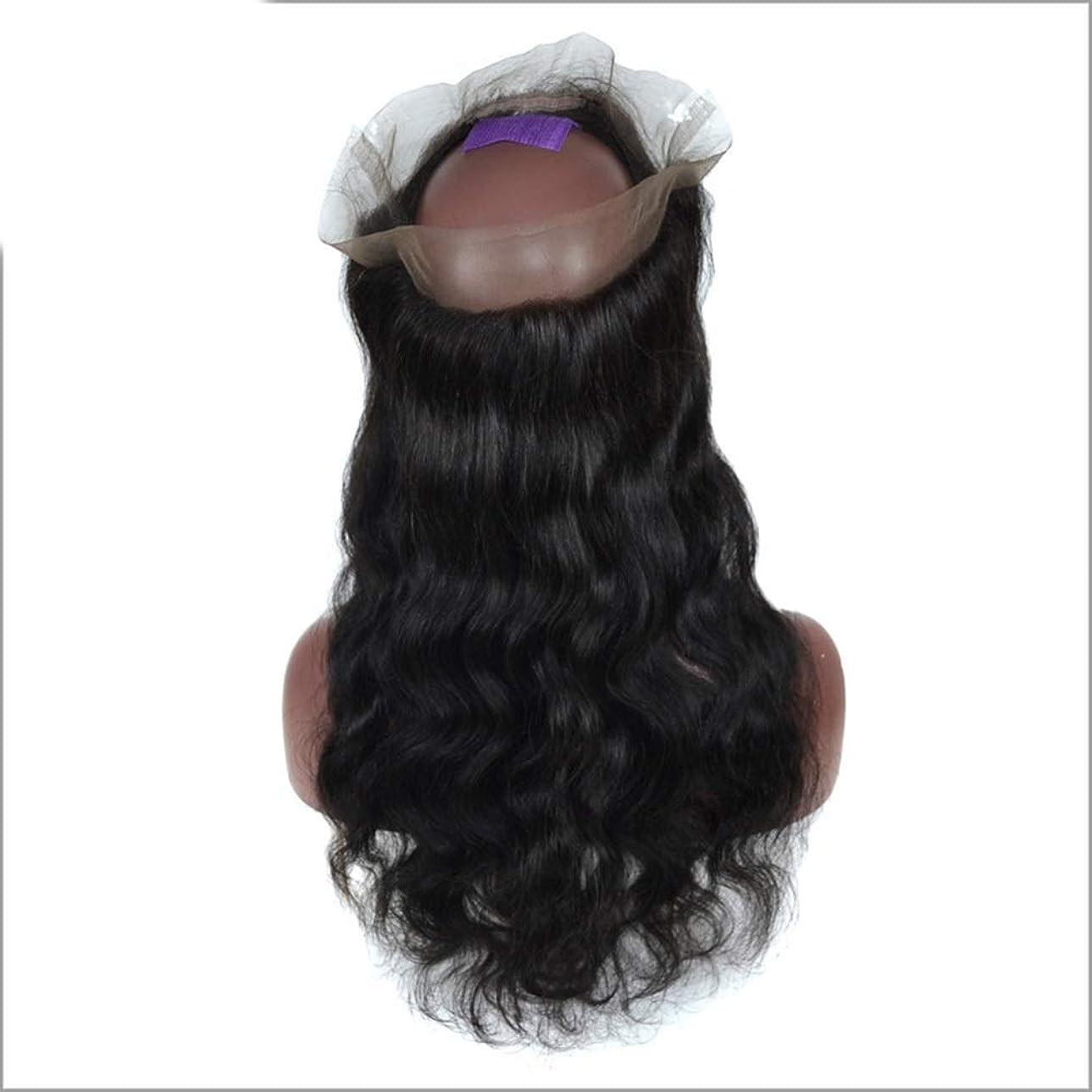空気許す機械的にBOBIDYEE 3/4ハーフウィッグブラジルのリアル人間の髪の毛のかつら前部レースの実体波クリップ半分ウィッグパーティーかつら (色 : 黒, サイズ : 12 inch)