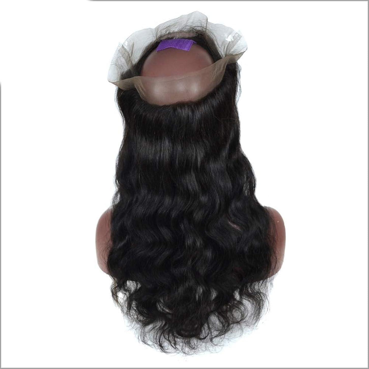 マークされたチーター迷彩かつら 3/4ハーフウィッグブラジルのリアル人間の髪の毛のかつら前部レースの実体波クリップ半分ウィッグパーティーかつら (色 : 黒, サイズ : 12 inch)