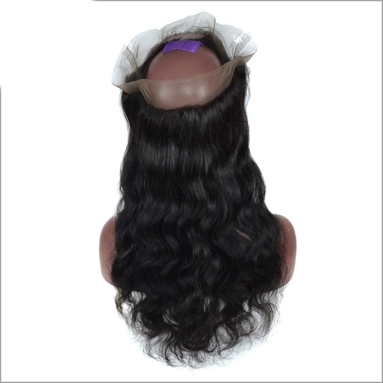 自然秀でるジャングルHOHYLLYA 3/4ハーフウィッグブラジルのリアル人間の髪の毛のかつら前部レースの実体波クリップ半分ウィッグパーティーかつら (色 : 黒, サイズ : 12 inch)