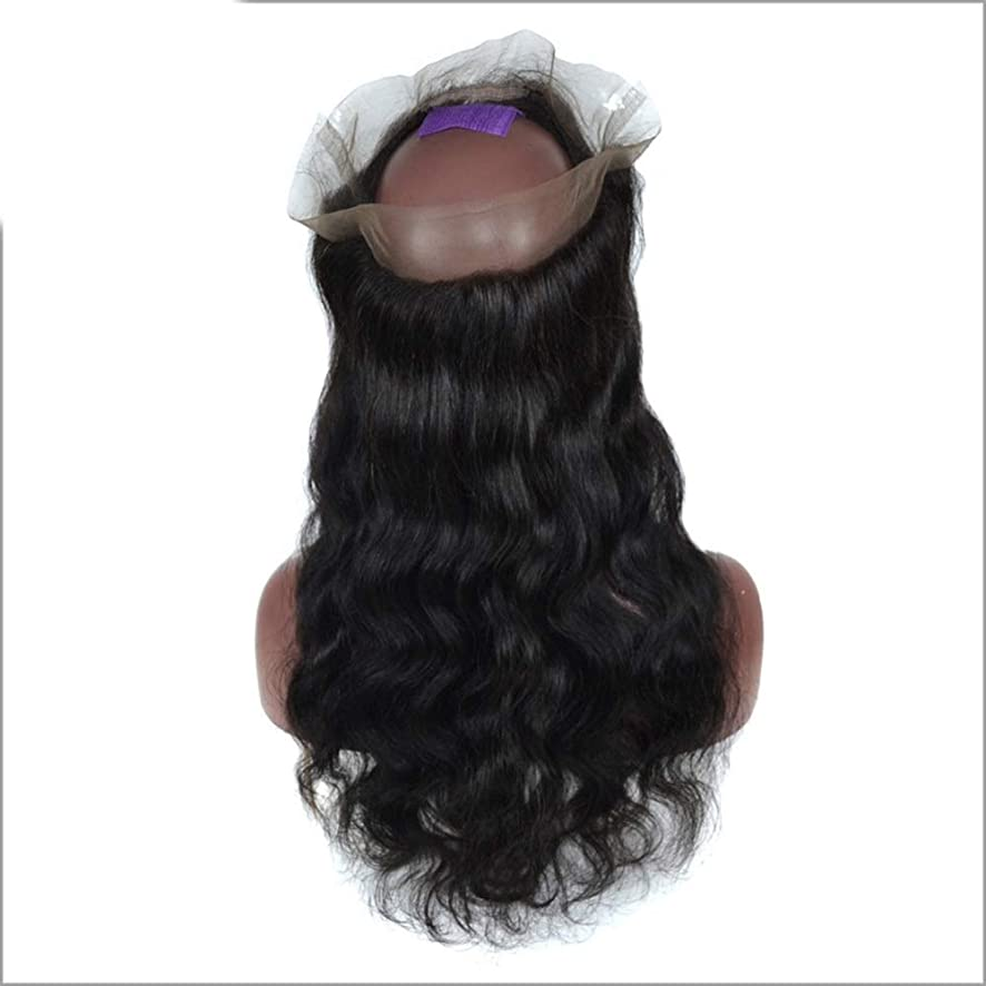 接触咳引くHOHYLLYA 3/4ハーフウィッグブラジルのリアル人間の髪の毛のかつら前部レースの実体波クリップ半分ウィッグパーティーかつら (色 : 黒, サイズ : 12 inch)