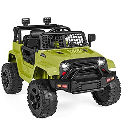 Best Choice Products 12V Kids Ride On Truck Car w/Parent Remote Control, Spring Suspension, LED Lights, AUX Port - Green