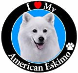 'I Love My American Eskimo' Car Magnet With Realistic Looking American Eskimo Photograph In The Center Covered In UV Gloss For Weather and Fading Protection Circle Shaped Magnet Measures 5.25 Inches Diameter