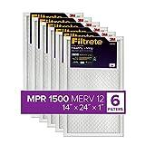 Filtrete 14x24x1, AC Furnace Air Filter, MPR 1500, Healthy Living Ultra Allergen, 6-Pack