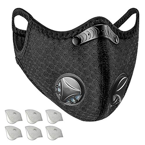Dust Mask with Active Carbon Filters and Breathing Valve, Reusable and Washable Sports Mask, Comes with 6 Filters
