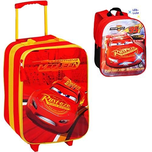 alles-meine.de GmbH 2 TLG. Set _ großer _ Kinder Trolley + Rucksack mit LED Licht - Disney Cars - Lightning McQueen / Auto - wasserabweisend & beschichtet - Jungen - Trolly mit R..