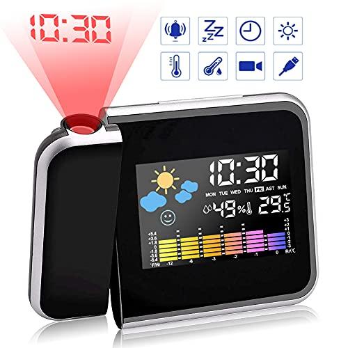 Gohytal Sveglia con Proiettore, Sveglia Digitale da Comodino Moda Sveglia Soffitto Sveglia Con Proiezione LED con Stazione Tempo/Display LCD/Ricarica USB/Temperatura e Data/Funzione Snooze (Nero)