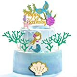Decoración para tarta de sirena con purpurina, 7 unidades, decoración para tartas y magdalenas para niñas con temática de sirena