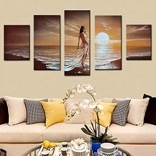 DIU Modern Hand Painted Wall Art Seaside Sexy Women Nude Pintura al óleo para la decoración del Dormitorio Abstracto Moderno sobre Lienzo 5 Paneles Sin Marco cm40x50 40x80 40x100