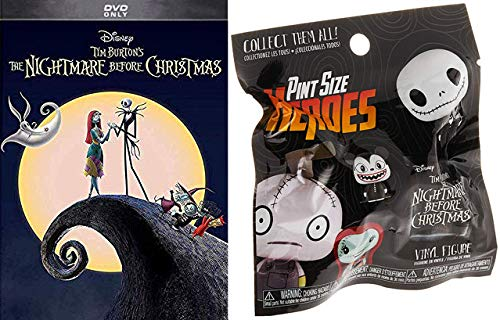 Zero Jack Sally Maybe Oogie Boogie- Nightmare Before Christmas DVD + Funko POP! Pint Size Heroes Blind Bag 2 Item Bundle