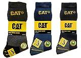 12 Pares Calcetines de trabajo CAT CATERPILAR para hombres Prevención de accidentes Talón y punta reforzados de esponja de algodón de excelente calidad (6 Negro 6 Gris, 4145)