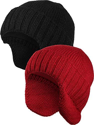 2 Piezas Gorros de Invierno con Orejeras de Punto de Hombre Gorro de Lana Gorros Cálido con Orejeras Gorra de Esquí con ala Tejida (Negro, Rojo)