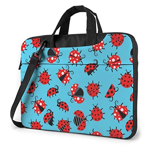 Red Insect in Blue Computer Bag Durable Laptop Briefcase Shoulder Messenger Bag for Computer Notebook 14 inch