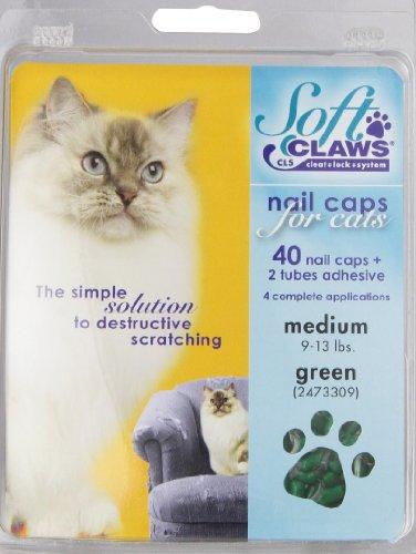 Soft Claws Inc Feline Doux Griffes Cat Nail Caps Take-Home kit, Medium, Vert