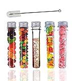 20 provette di plastica con coperchio, pezzi campione tubi con tappi, 40ml, con tubo e spazzola di pulizia