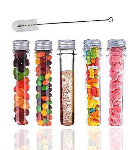 Tubos tipo probeta en plástico con tapas, 20tubos, 40ml, incluye cepillo de limpieza para tubos