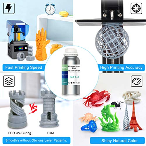 SUNLU 3D Printer LCD UV Resin 405nm Rapid Resin Fast-Curing Photopolymer For The Photon/s Liquid 3D Resin High-Precision For LCD/DLP/SLA 3D Printer, 1000ml Skin