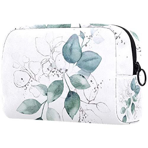 Kosmetyczka dla kobiet, pojemne torby do makijażu, akwarela zielone liście bukiet ziół, wodoodporna kosmetyczka podróżna organizer na akcesoria
