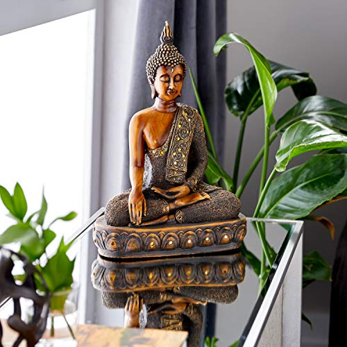 Benzara Asian-Themed Sitting Polystone Buddha Sculpture, 15 by 12', Textured Bronze Finish,44125