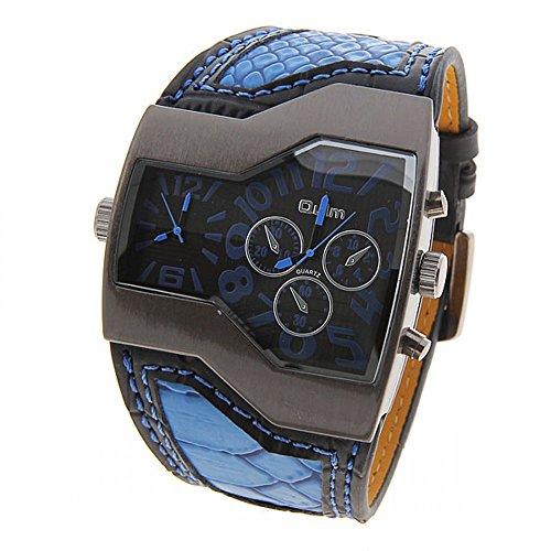 Oulm Mens Militar multifunción Dual Movt Dial Cuero Cuarzo Reloj de pulsera (azul)