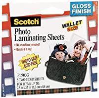 Scotch Self-Sealing Laminating Pouches, Wallet Size, 2.5 Inches x 3.5 Inches, 6 Packs of 5 Pouches, 30 Pouches Total (PL903G)