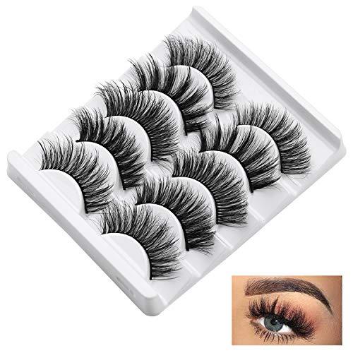 False Eyelashes Set 5 Pairs Styles, Fluffy 3D Eyelash Reusable, Mink Lashes Natural Look, Lashes for Women Handmade
